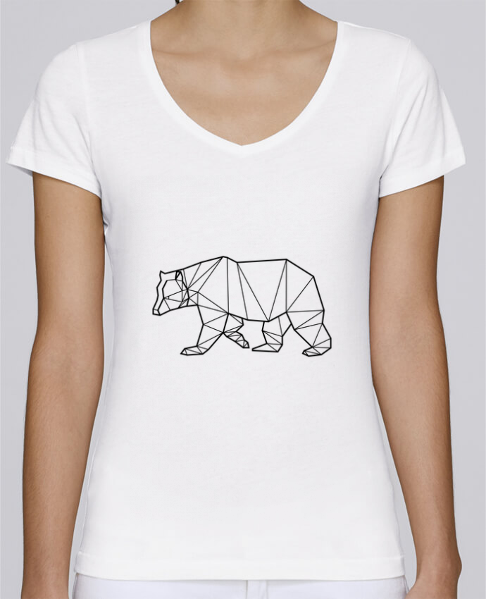 T-shirt Femme Col V Stella Chooses Bear Animal Prism par Yorkmout