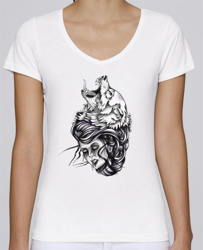 T-shirt Femme Col V Stella Chooses Femme & Loup par david