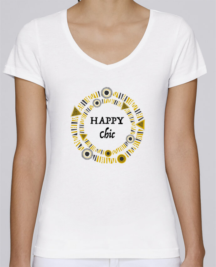 T-shirt Femme Col V Stella Chooses Happy Chic par LF Design