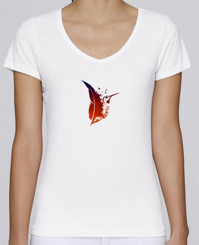 T-shirt Femme Col V Stella Chooses plume colibri par Studiolupi