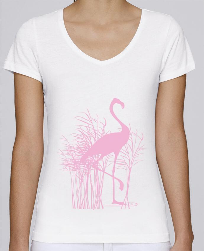 T-shirt Femme Col V Stella Chooses Flamant rose dans roseaux par Studiolupi
