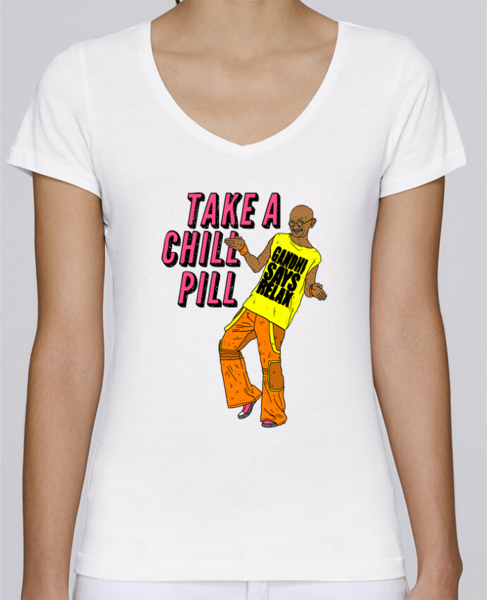 T-shirt Femme Col V Stella Chooses Chill Pill par Nick cocozza