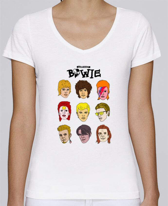 T-shirt Femme Col V Stella Chooses Bowie par Nick cocozza