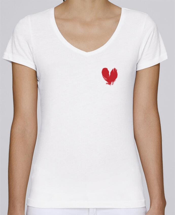 T-shirt Femme Col V Stella Chooses coeur de plumes par Studiolupi
