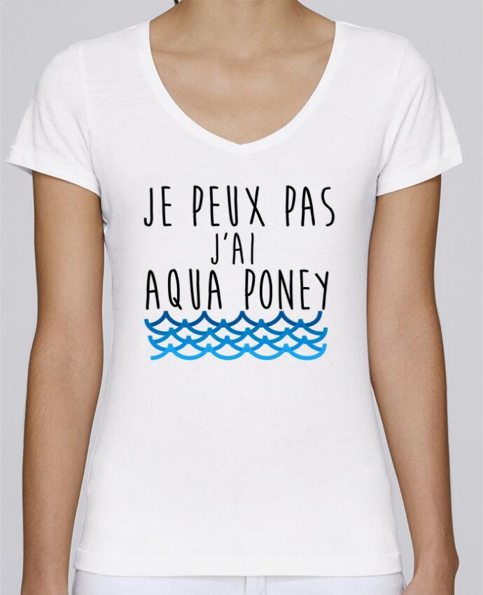 T-shirt Femme Col V Stella Chooses J'peux pas j'ai aqua poney par LPMDL