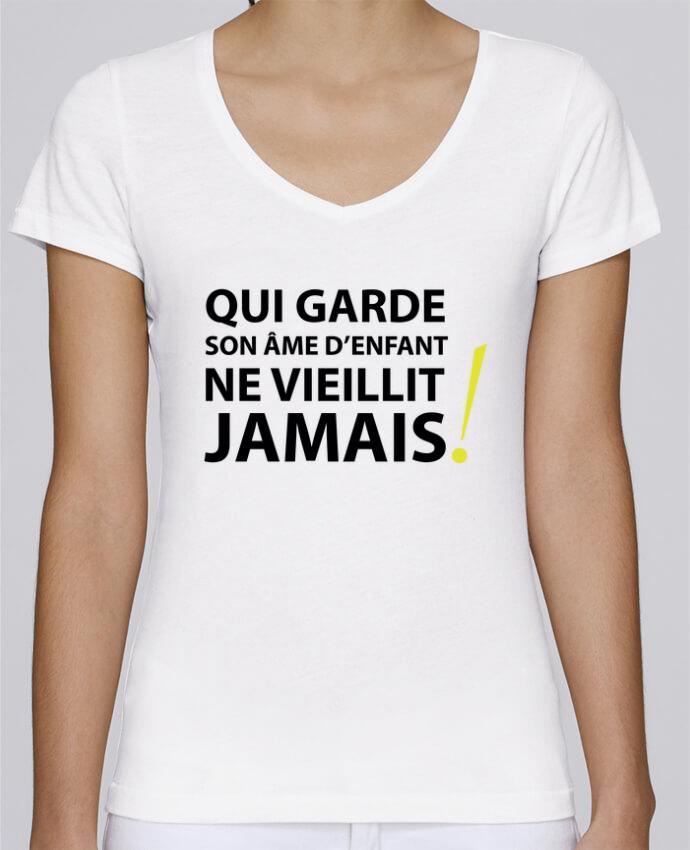 T-shirt Femme Col V Stella Chooses Qui garde son âme d'enfant ne vieillit jamais par LF Design