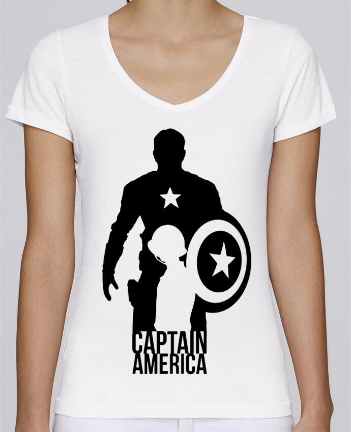 T-shirt Femme Col V Stella Chooses Captain america par Kazeshini