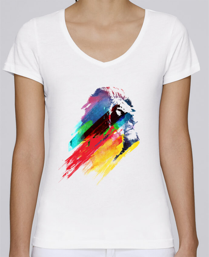 T-shirt Femme Col V Stella Chooses Our hero lion par robertfarkas