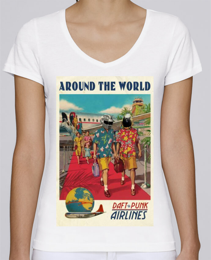T-shirt Femme Col V Stella Chooses Arount the World par Ads Libitum