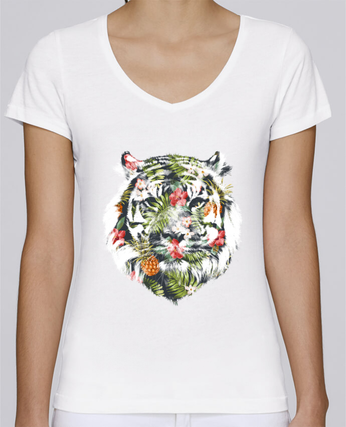 T-shirt Femme Col V Stella Chooses Tropical tiger par robertfarkas