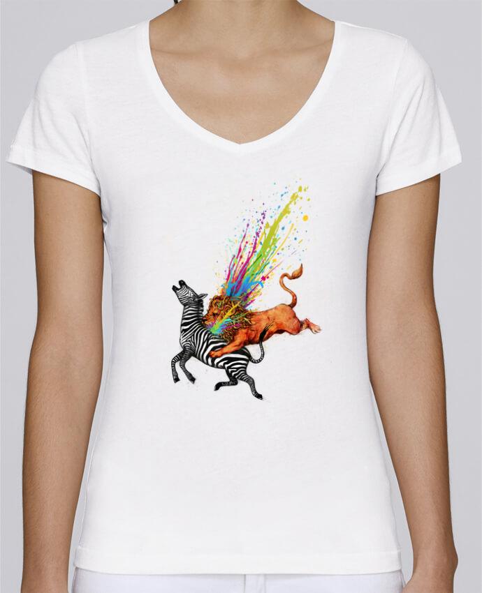 T-shirt Femme Col V Stella Chooses Kill monotony par Enkel Dika