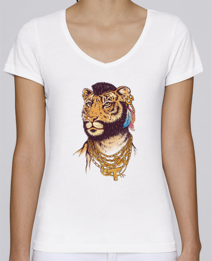 T-shirt Femme Col V Stella Chooses Mr tiger par Enkel Dika