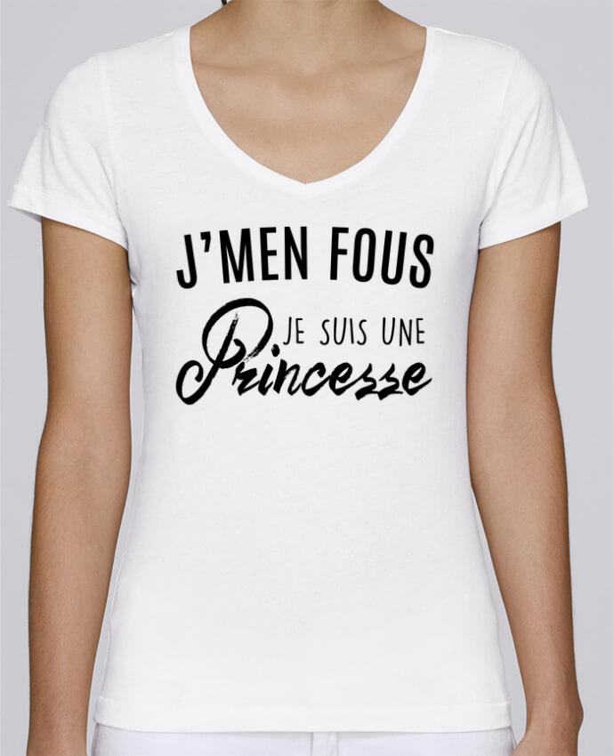T-shirt Femme Col V Stella Chooses J'men fous je suis une princesse par LPMDL