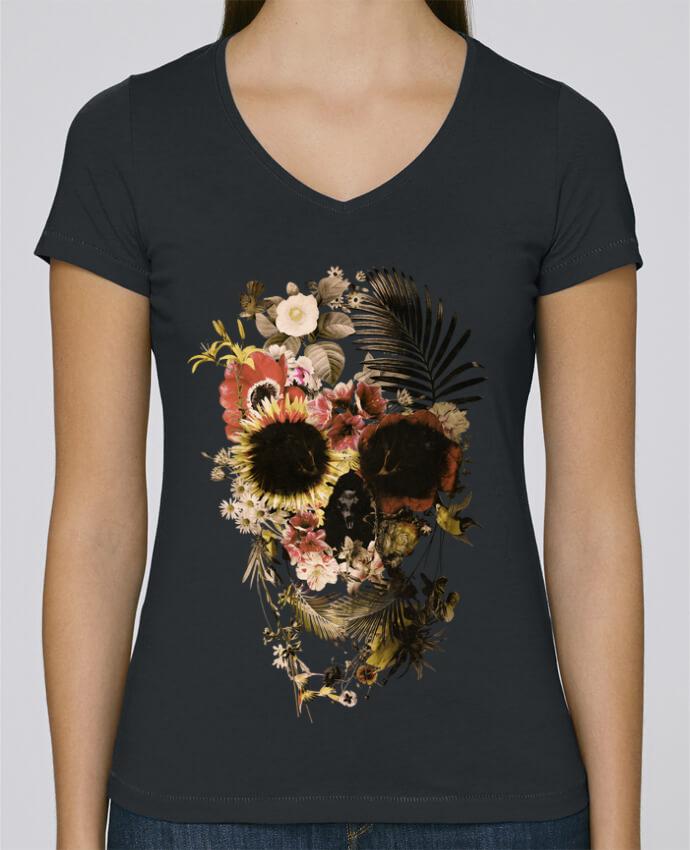 T-shirt Femme Col V Stella Chooses Garden Skull par ali_gulec