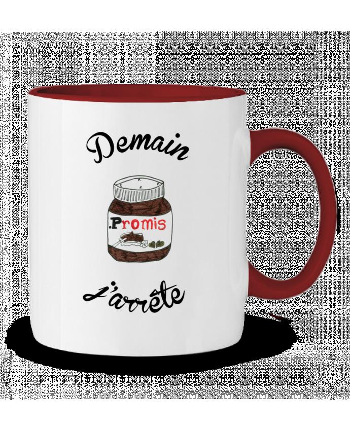 Mug en Céramique Bicolore Demain j'arrête le Nutella Promis