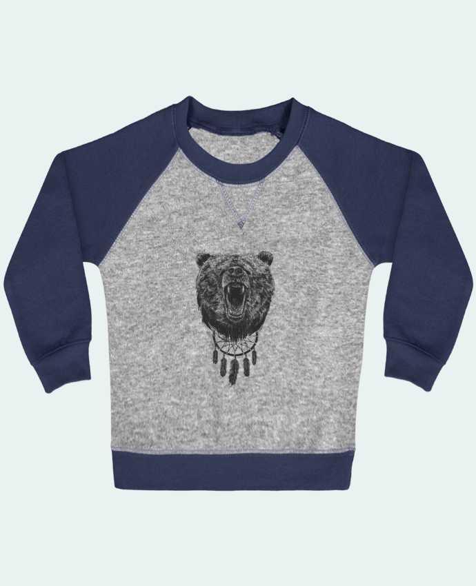 Sweat Shirt Bébé Col Rond Manches Raglan Contrastées Angry bear with antlers par Balàzs Solti