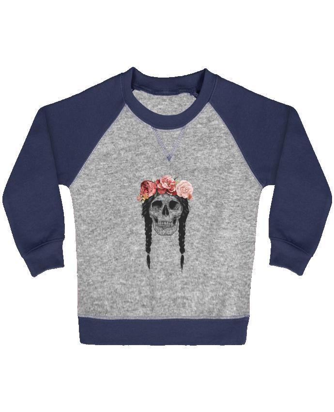 Sweat Shirt Bébé Col Rond Manches Raglan Contrastées Festival Skull par Balàzs Solti