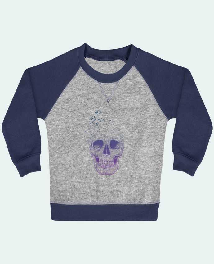 Sweat Shirt Bébé Col Rond Manches Raglan Contrastées Let Them Fly par Balàzs Solti
