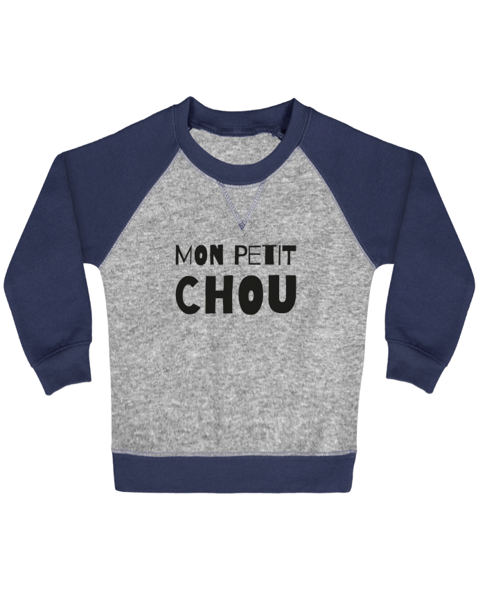 Sweat Shirt Bébé Col Rond Manches Raglan Contrastées Mon petit chou par tunetoo