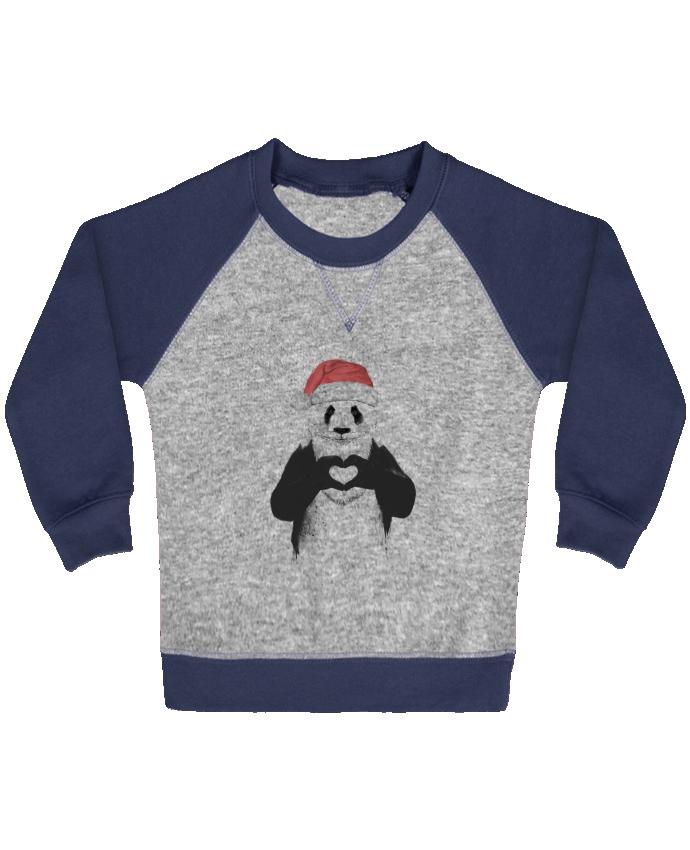 Sweat Shirt Bébé Col Rond Manches Raglan Contrastées Santa Panda par Balàzs Solti