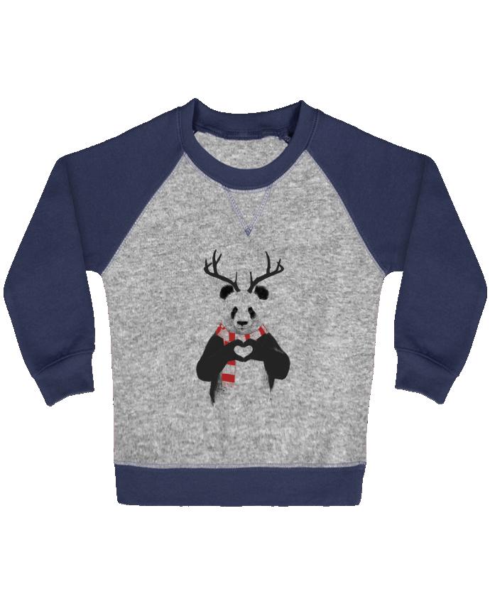Sweat Shirt Bébé Col Rond Manches Raglan Contrastées X-mas Panda par Balàzs Solti