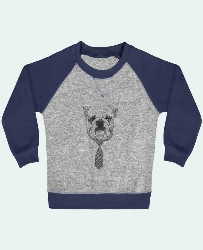 Sweat Shirt Bébé Col Rond Manches Raglan Contrastées Cool Dog par Balàzs Solti