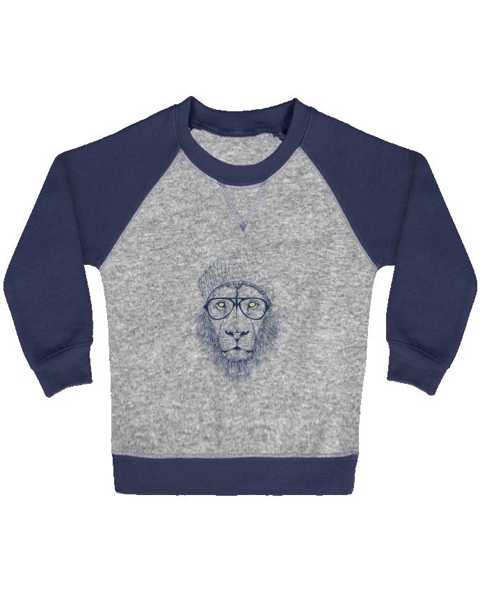 Sweat Shirt Bébé Col Rond Manches Raglan Contrastées Cool Lion par Balàzs Solti