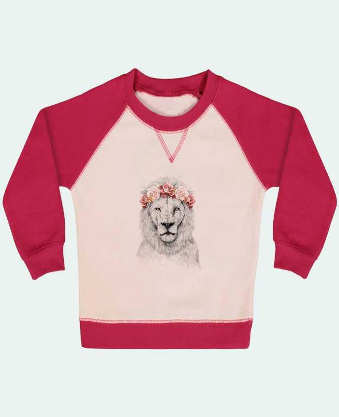 Sweat Shirt Bébé Col Rond Manches Raglan Contrastées Festival Lion par Balàzs Solti