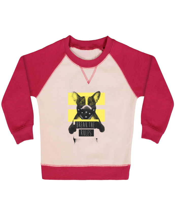 Sweat Shirt Bébé Col Rond Manches Raglan Contrastées rebel_dog_yellow par Balàzs Solti