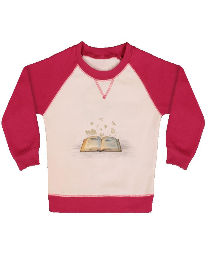 Sweat Shirt Bébé Col Rond Manches Raglan Contrastées Words take flight par Florent Bodart