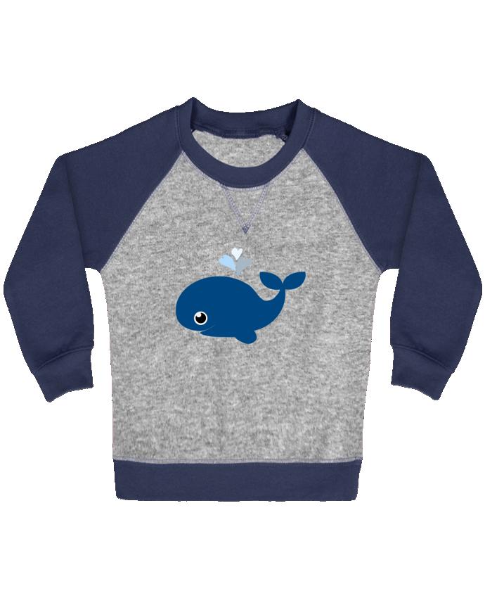 Sweat Shirt Bébé Col Rond Manches Raglan Contrastées Baleine coeur par WBang