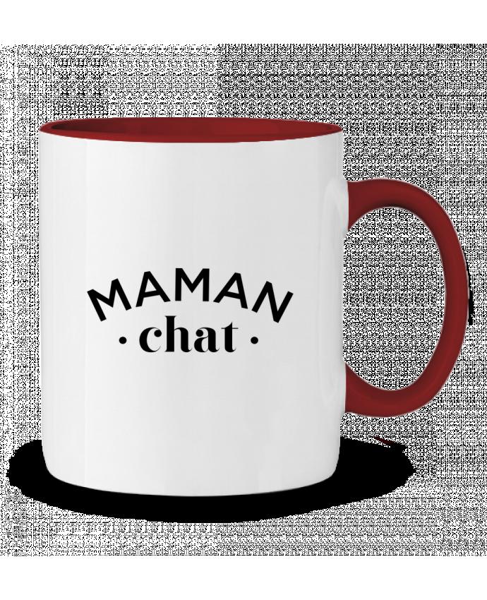 Mug en Céramique Bicolore Maman chat tunetoo