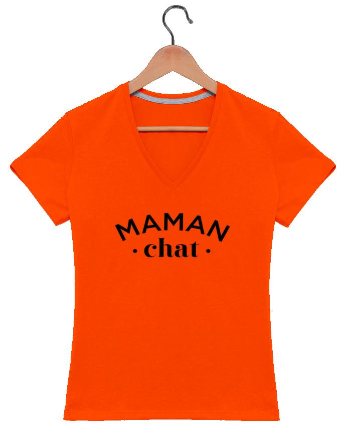 T-shirt Col V Femme 180 gr Maman chat par tunetoo